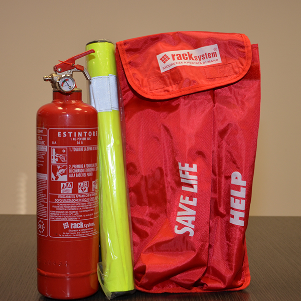 Kit auto estintore polvere 1kg safety steck, safety vest